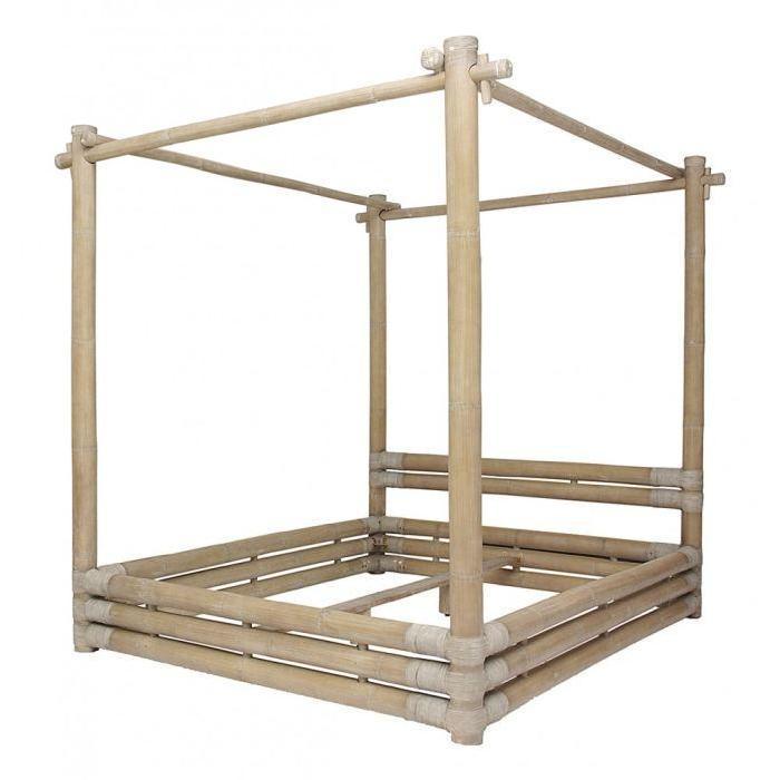 Lit à baldaquin en bambou 160 cm Bamboo Inwood Achat / Vente