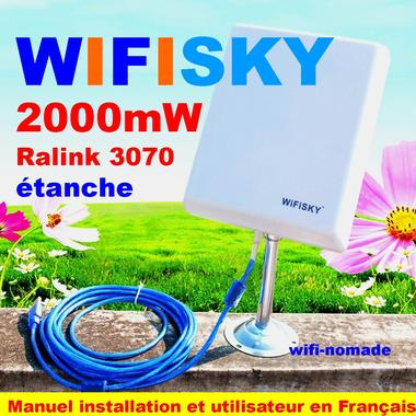 Carte, clé wifi usb Wifisky 2000mW antenne panneau