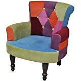 Lot de 2 fauteuil de style France avec accoudoirs design patchwork
