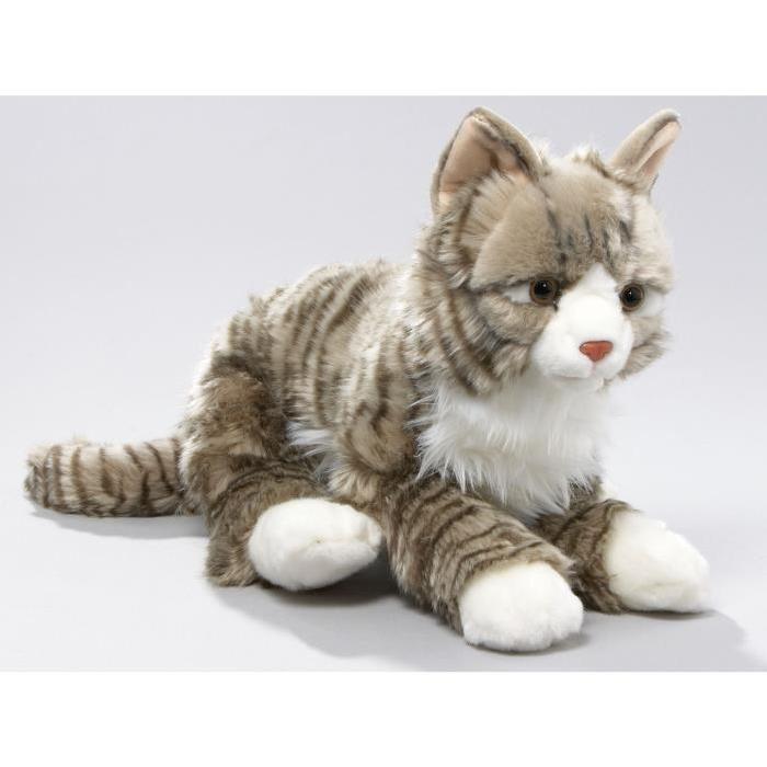 Chat Peluche couché tigré gris, 37cm [Jouet] Achat / Vente peluche