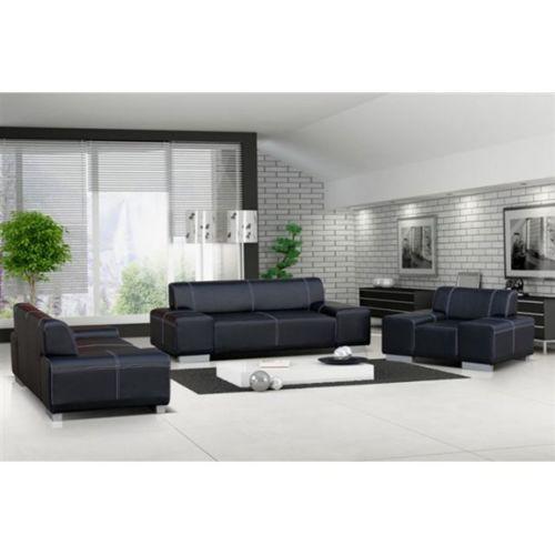 Meublesline Ensemble canapé et fauteuil 3+2+1 Flavio Noir 6