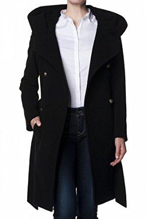 Salsa Manteau en étoffe avec capuche Femme Noir XXL