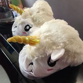 Chaussons Animaux Avec Grosse Tête De Licorne Blanc Peluche Kawaii