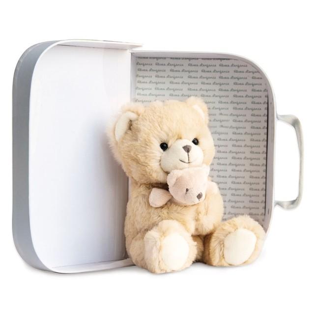 HISTOIRE D'OURS Peluche ours et bébé miel dans sa valisette 17 cm