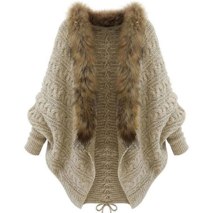 Manteau Femme Hiver Lache Col avec Fourrure Pull Manches Chauve Souris