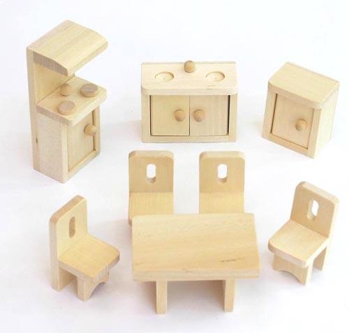 Set de meubles pour maison de poupée FREDA en bois 28