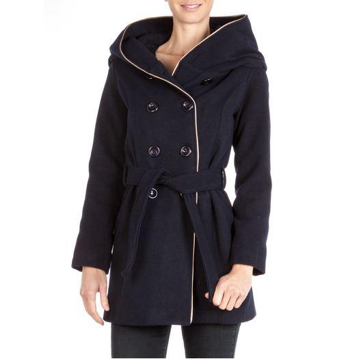 Manteau 3/4 à large capuche Coupe Made in Italy avec ceinture sous