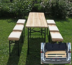 Ensemble de jardin/bistrot N31, table + 2 bancs, pliable, bois/m