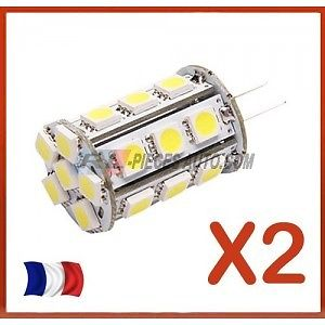 2 Ampoule 12V G4 24 SMD 5 w Blanc froid