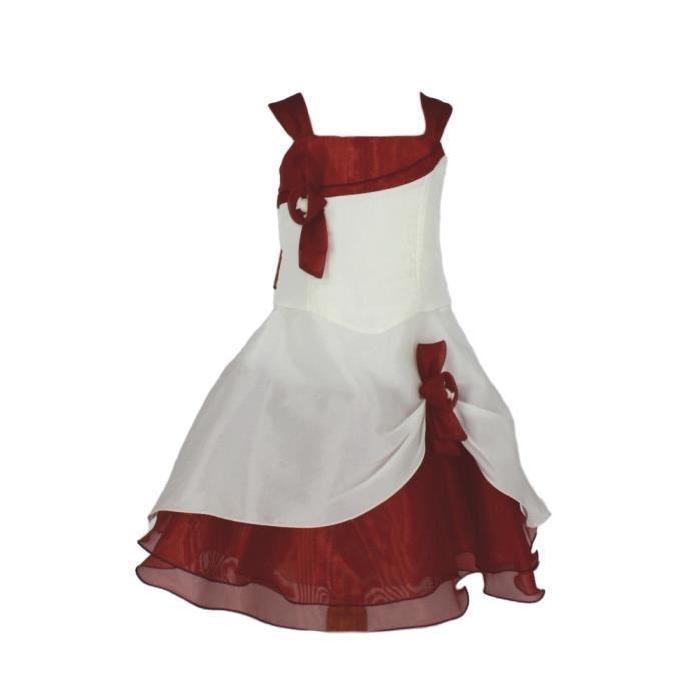 Robe fille ivoire et couleur Amé? Bordeaux Rouge Achat / Vente