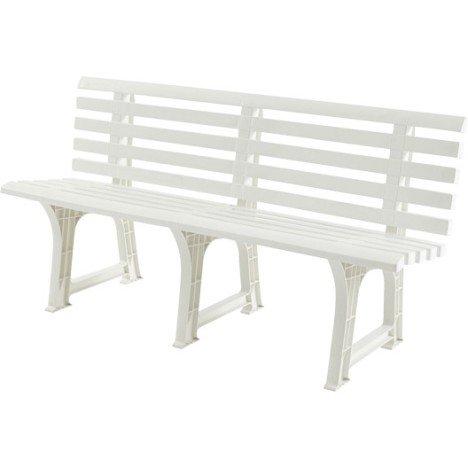 Banc 3 places de jardin en résine (plastique) Isotta blanc | Leroy