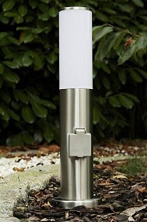 Borne lumineuse avec prise électrique pour le jardin
