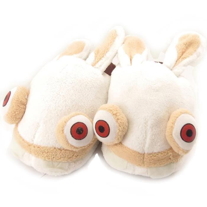 Pantoufles «Lapins Crétins» blanc Pantoufles cocooning «Lapins