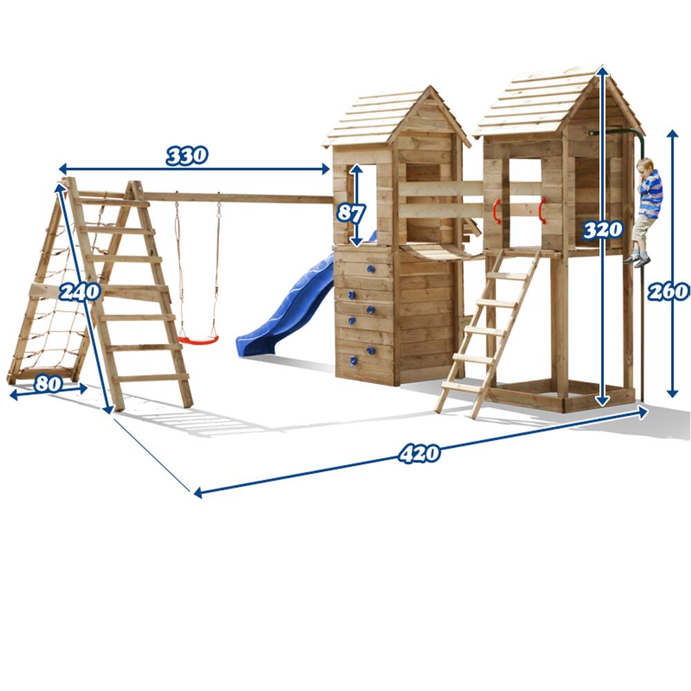 Aire de jeux XXL cabane en bois toboggan balancoire rampe