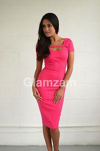 Dos Nu Rose Glamour Crayon Manche Courte Midi Moulante Robe Extensible