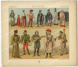 Costume Francais Moyen age Musiciens Troubadour Chromolithographie