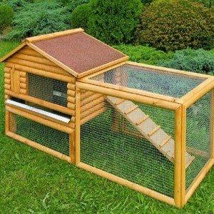 Woodland Clapier Poulailler bois Pour 2 Lapins ou 2 Poules naines