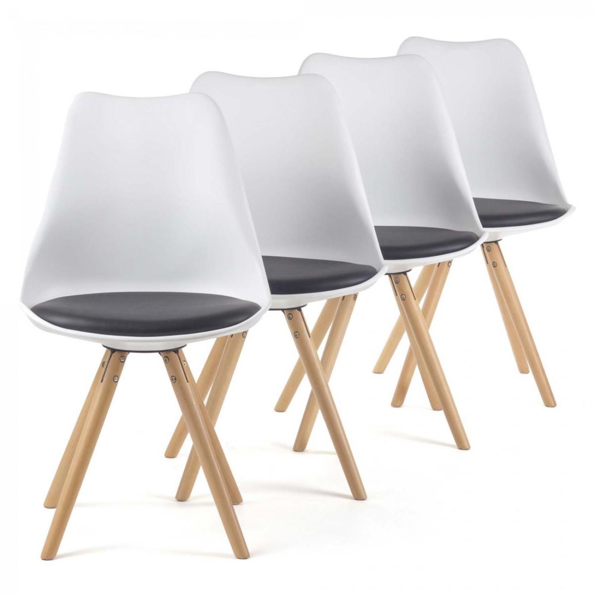 MY SIT Chaise de Design Siège de Bureau MOOL Ensemble de 4 en Blanc