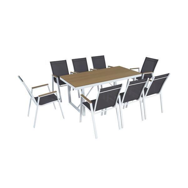 Salon de jardin aluminium 8 personnes et 8 chaises gris anthracite