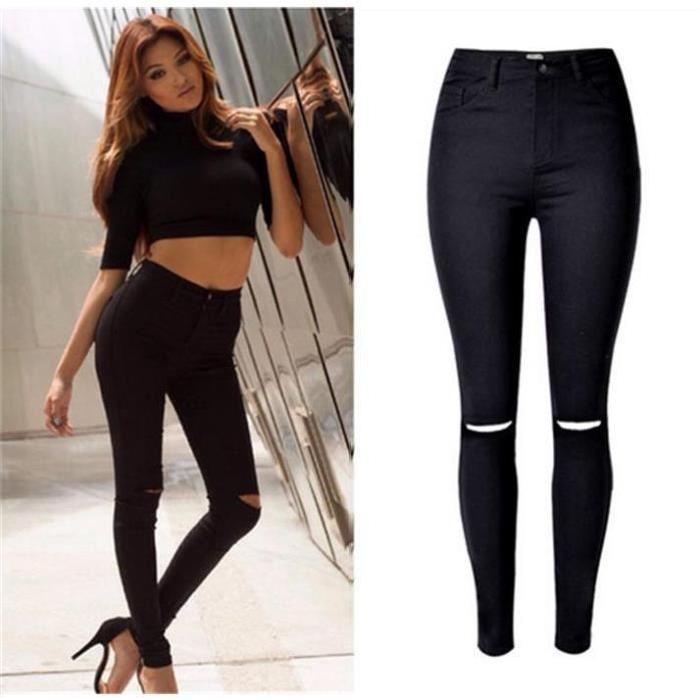 Jeans Femme élastique Slim Déchiré Pantalon Taille Haute X été