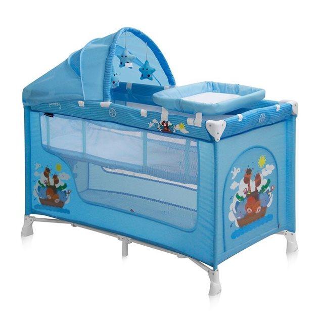 Lit parapluie bébé / lit pliant à 2 niveaux nanny 2+ lorelli bleu