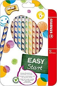 Pochette de 12 crayons de couleur ergonomiques + taille crayon
