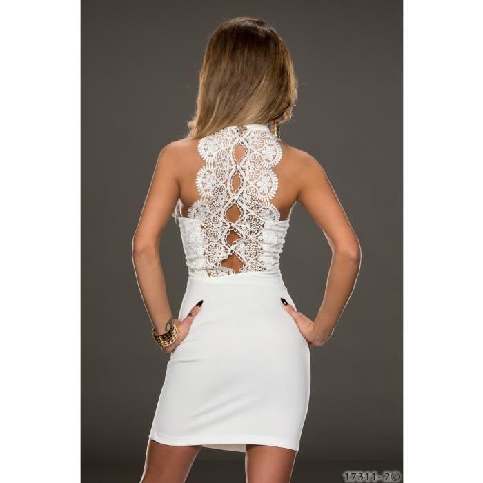 robe dos nu blanche dentelle sexy Achat / Vente robe robe dos nu
