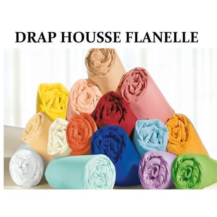 Draps Housse 100% Pur Coton gratté Flanelle très très douce et