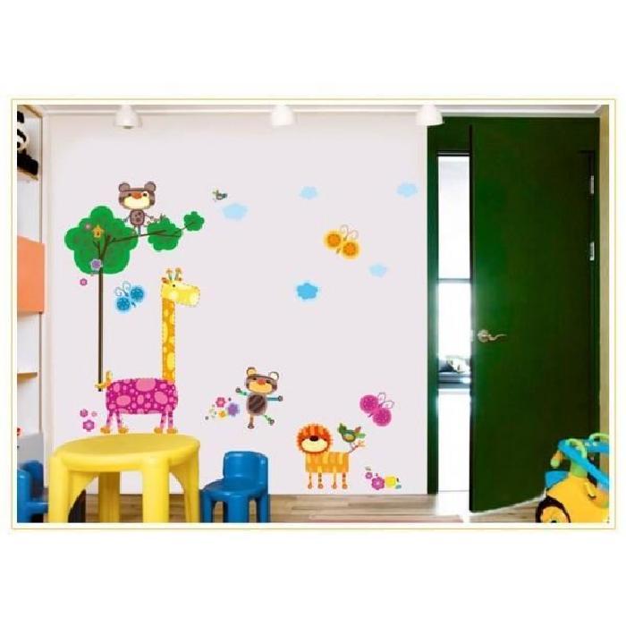 Sticker mural enfant animaux colorés et arbre Achat / Vente
