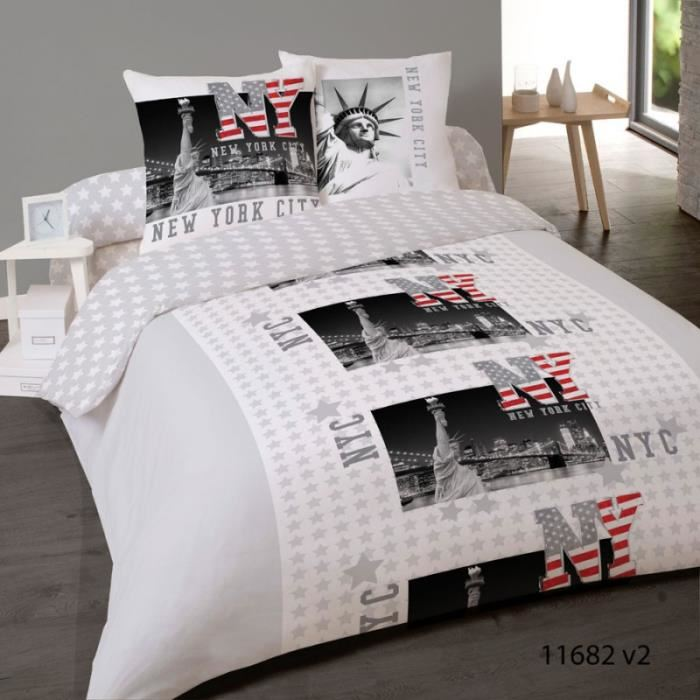 Housse de couette FLANELLE NEW YORK FREEDOM 240 x 220 +2 Taies 125