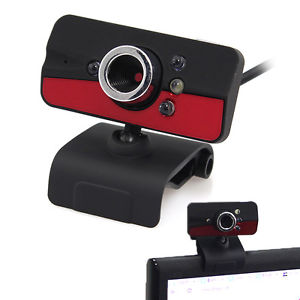 USB Red 5MP Video Webcam Camera With Microphone Mic Clip for PC Laptop