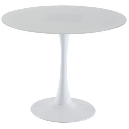 Chloe Decoration Table à manger ronde eldy blanc pas cher Achat