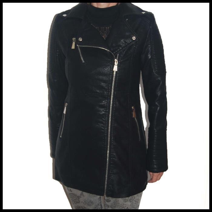 VESTE PERFECTO LONG FEMME NOIR FAÇON CUIR Noir Achat / Vente veste