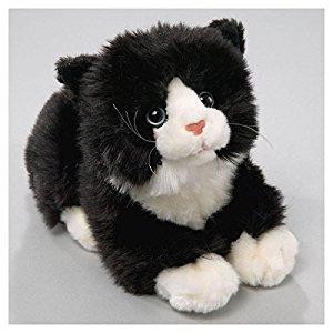 Peluche chat noir blanc avec son 20cm [Jouet]: Jeux et