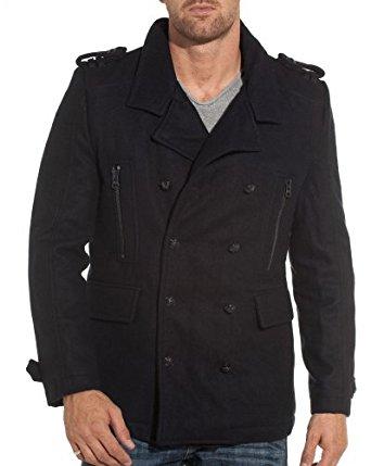 Mezaguz Veste caban homme bleu navy tendance Couleur : Bleu Taille