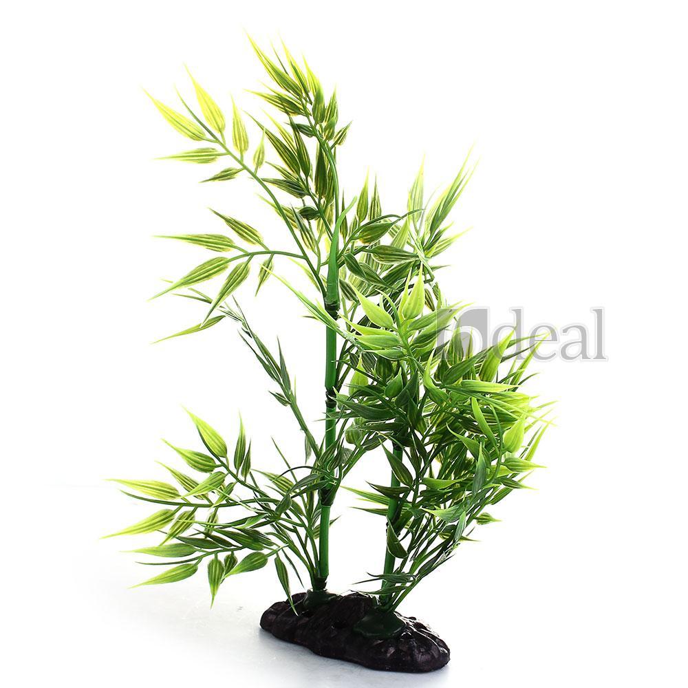 Plante Artificielle Bambou Aquatique en Plastique Vert Décor Aquarium