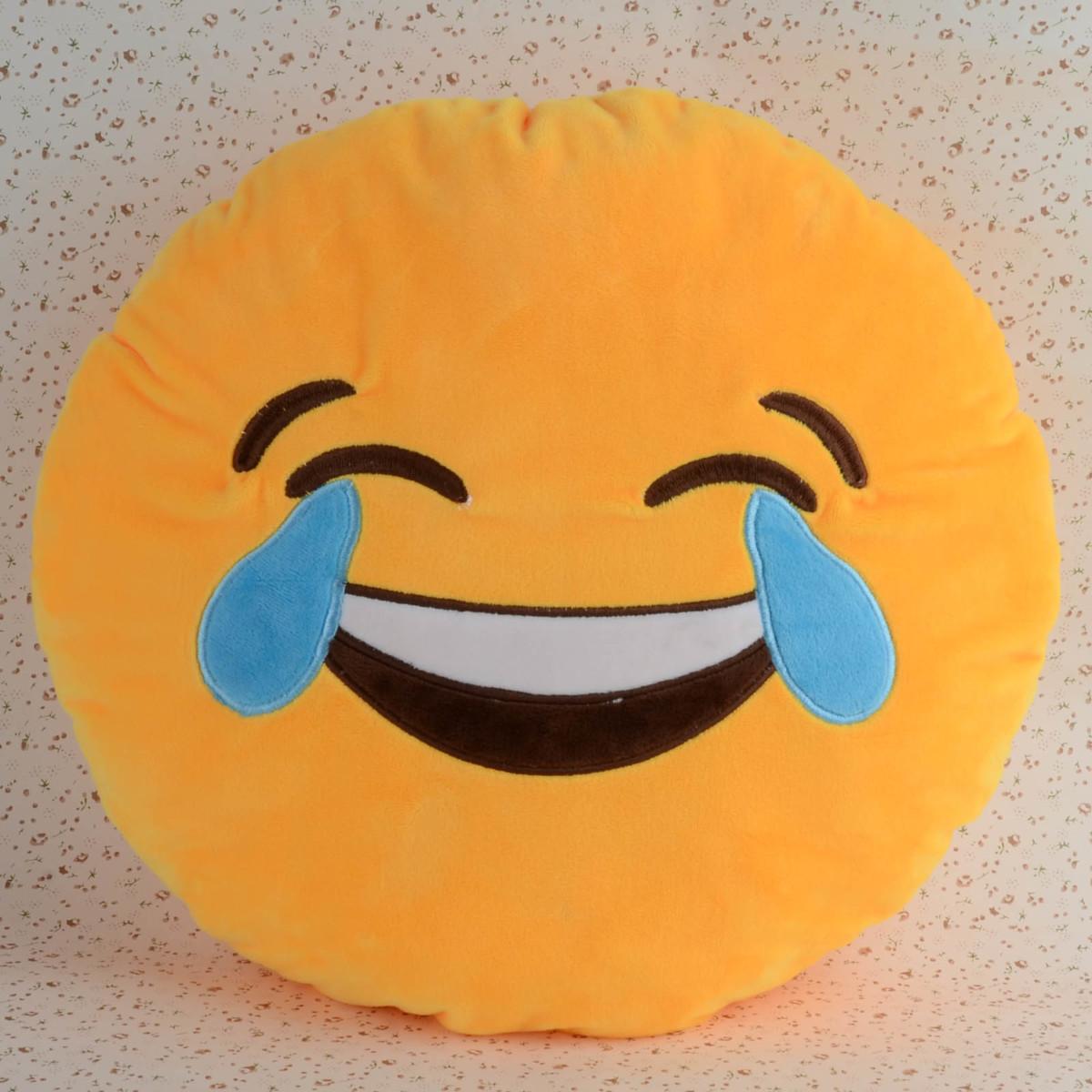 Coussin rond doux oreiller jaune Emoji émoticônes Smiley peluche