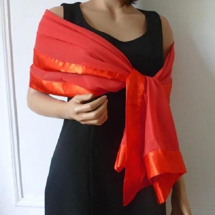 Etole, châle, grand foulard habi? Rouge vif Marron Achat / Vente