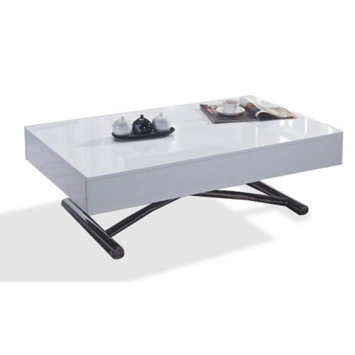 inside75 table basse relevable cube blanche brillante extensible 12 - Inside75 Table Basse