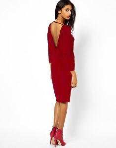 ASOS Robe de Soirée Sexy Dos Manches Longues Rouge 38