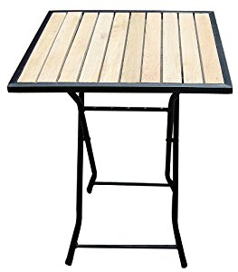 Table de jardin/bistrot pliante, carrée 60x60cm, métal+bois, beige