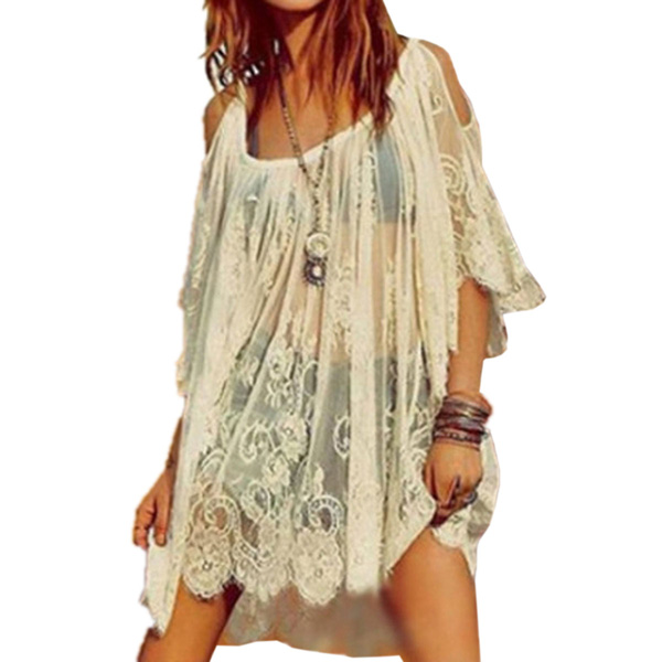 Top Robe Dentelle Plages Vintage Boho Hippie broderie Floral Crochet