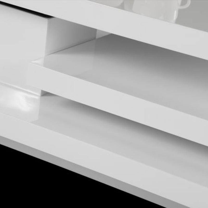Table Basse Blanc Laqué de Salon Carrée Pivotante 3