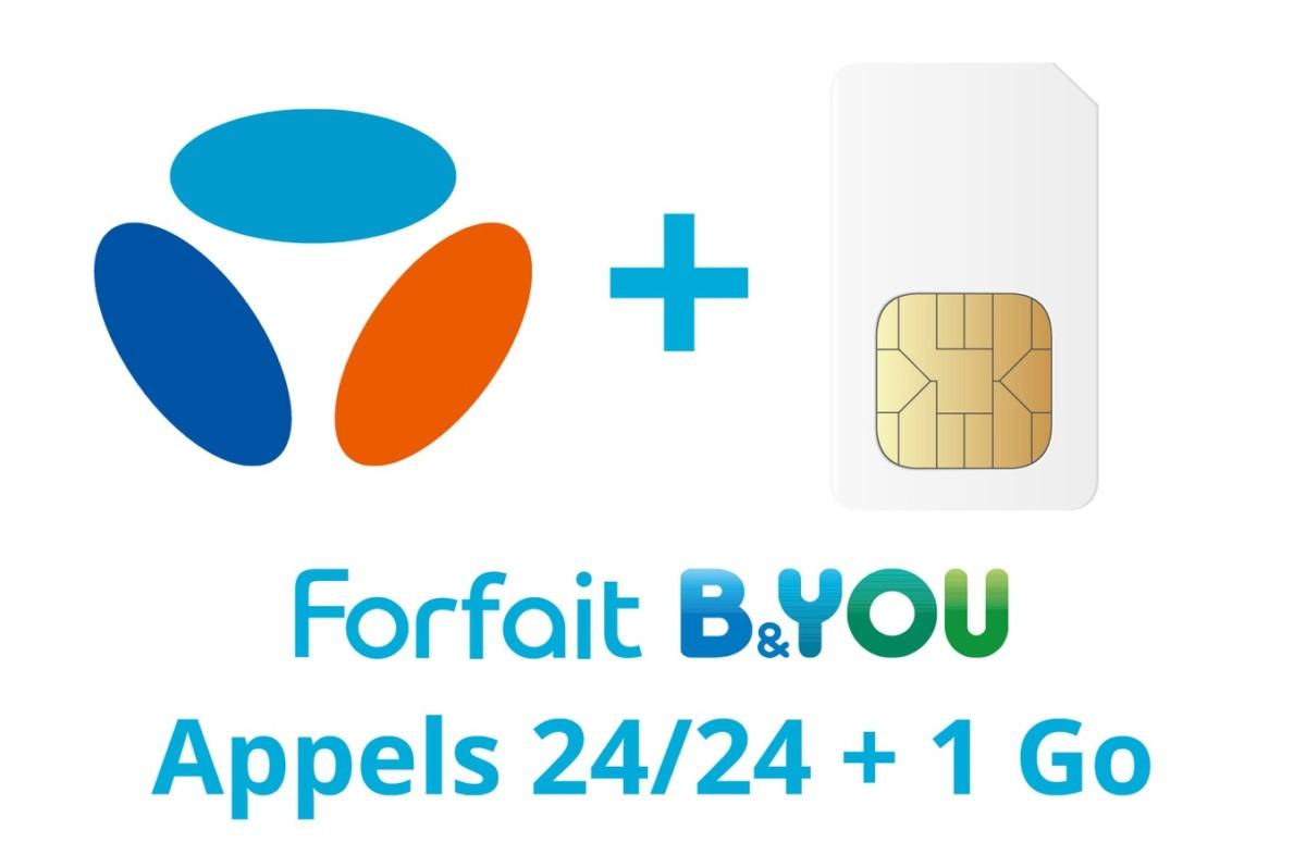 Forfait SIM seule Bouygues Telecom FORFAIT B&YOU 2H + 1Go (10825