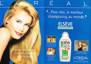 ADVERTISING 1998 L 039 OREAL ELSEVE shampoing CLAUDIA SCHIFFER 2 pages