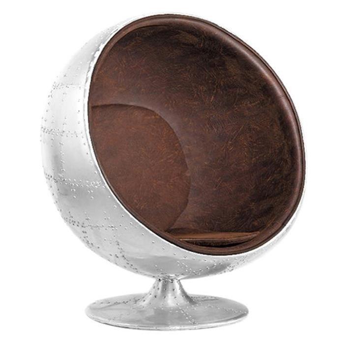 Fauteuil de salon design vintage aviator Boule ball chair retro