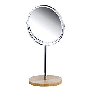 Axentia 282806 Miroir rond sur pied en bambou 17 cm