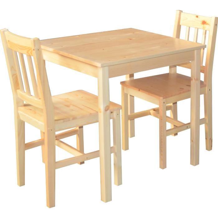 Ensemble table & 2 chaises en pin naturel Palazzo L'ensemble Palazzo