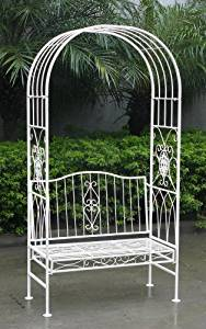 de jardin avec banc 2 places style vintage fer forgé blanc