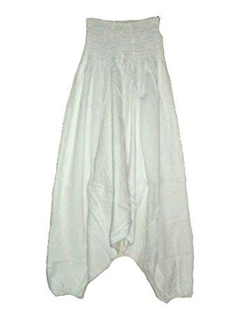 Sarouel pantalon homme femme 100% Coton Blanc: Vêtements